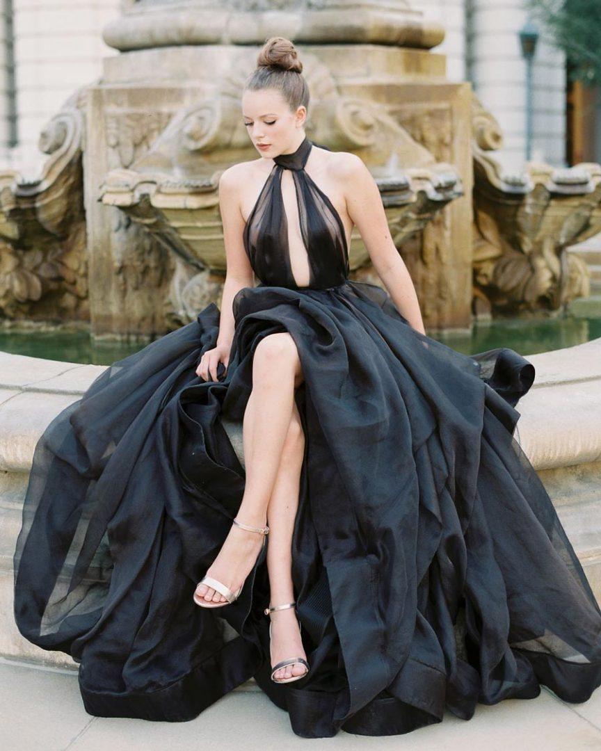 черное свадебное платье 3