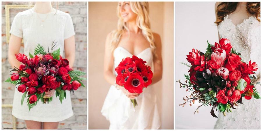 красный букет невесты 2