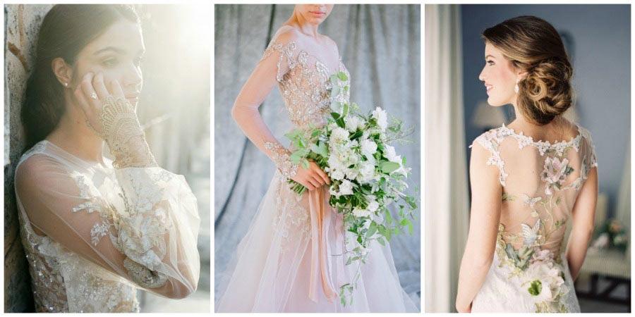 свадебные платья с цветами 9