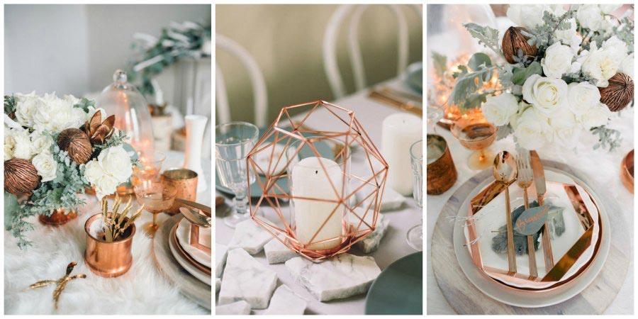 золото и другие металлы в оформлении свадьбы 4