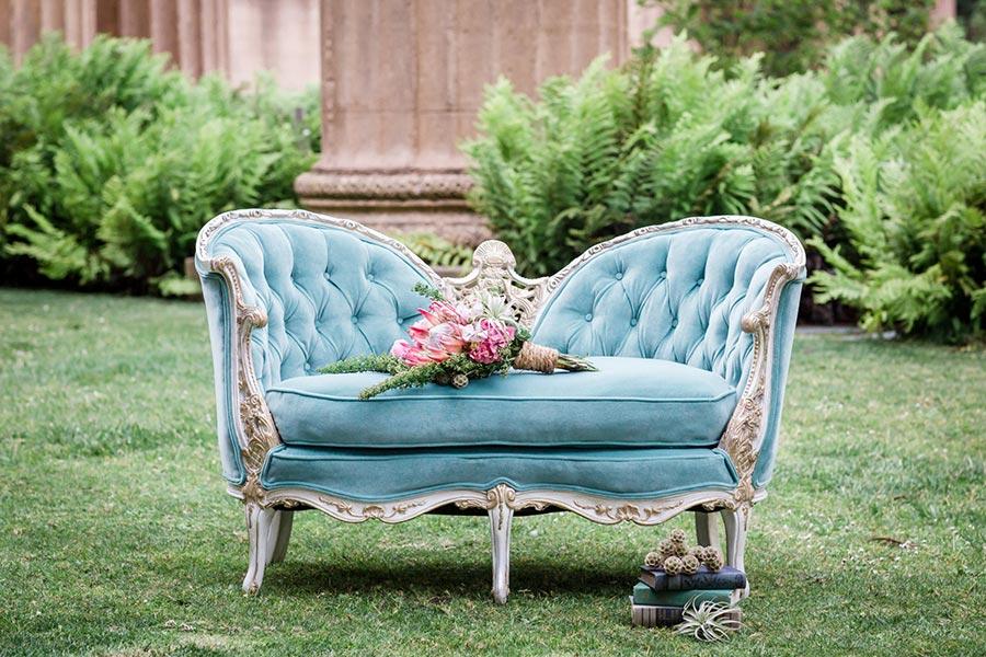 canapé bleu luxe en velours