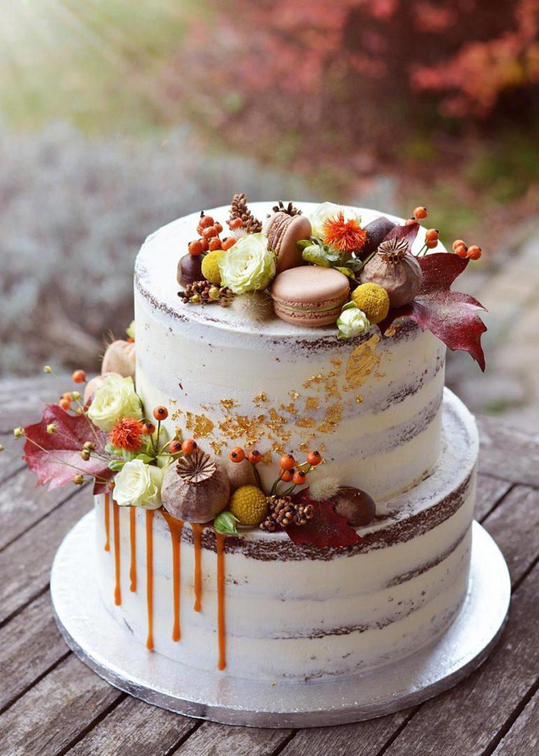 осенний свадебный торт начинки и декор 6