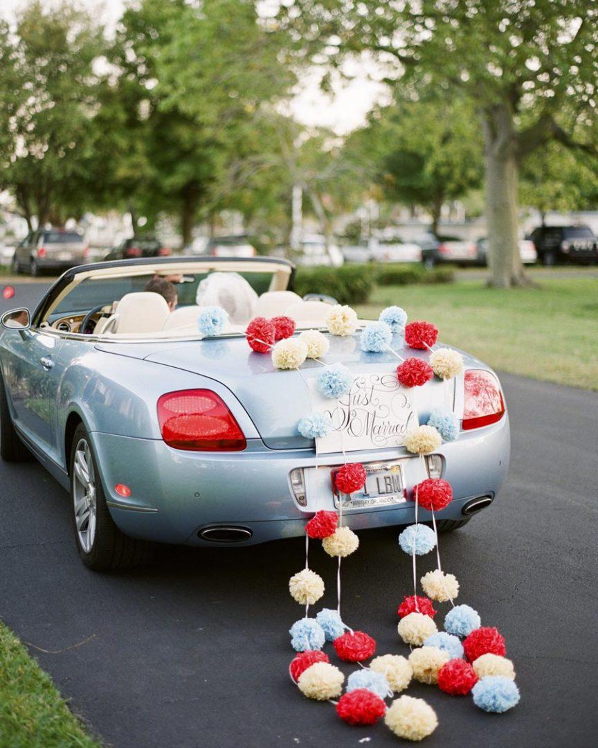 10 способов украсить машину на свадьбу своими руками 4